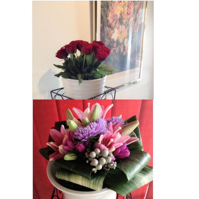 お弁当とお花